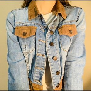 DENIM JACKET WOTH CONTRAST LIGHT BROWN COLORBLOCK